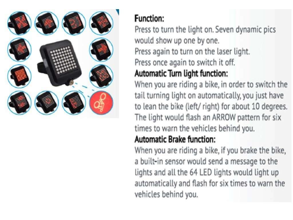 Стоп-сигнал с поворотниками EASTPOWER, 6хSMD LED, 10лм, литий-полимерный аккумулятор, EBL-3464
