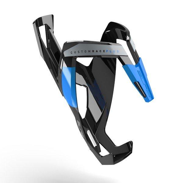 Флягодержатель Custom Race Plus ELITE, черный глянец, синий рисунок