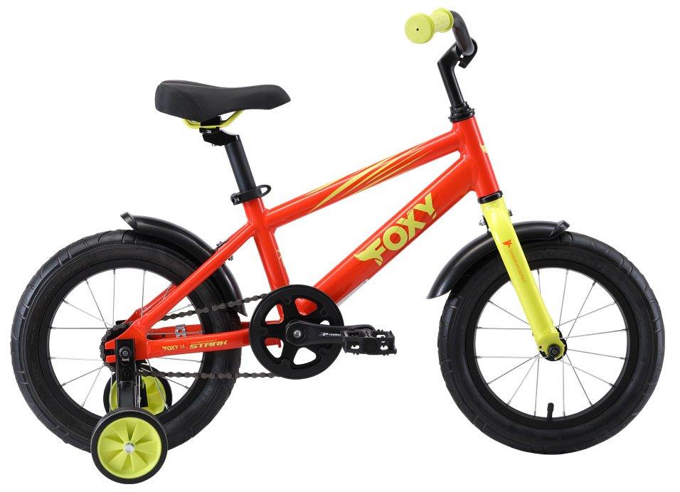 """Детский велосипед Stark Foxy 14"""" 2019 (Рост: 1,01 — 1,15 м, Цвет: оранжевый/зелёный)"""