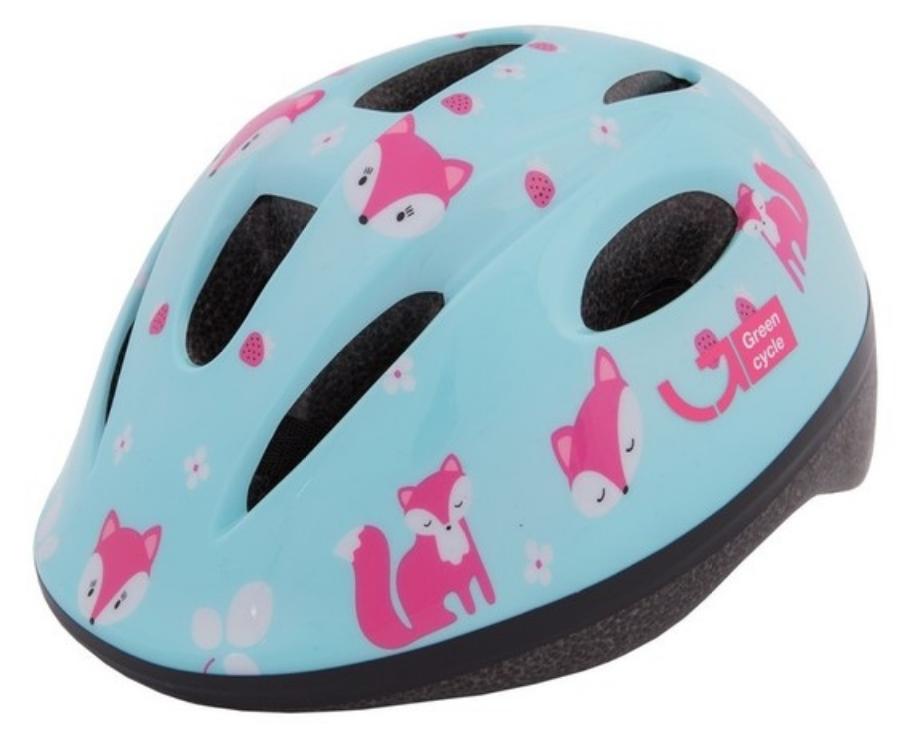 Велошлем детский Green Cycle Foxy, мятный/малиновый/розовый, лакированный, 2019 (Размер: 50-54 см)
