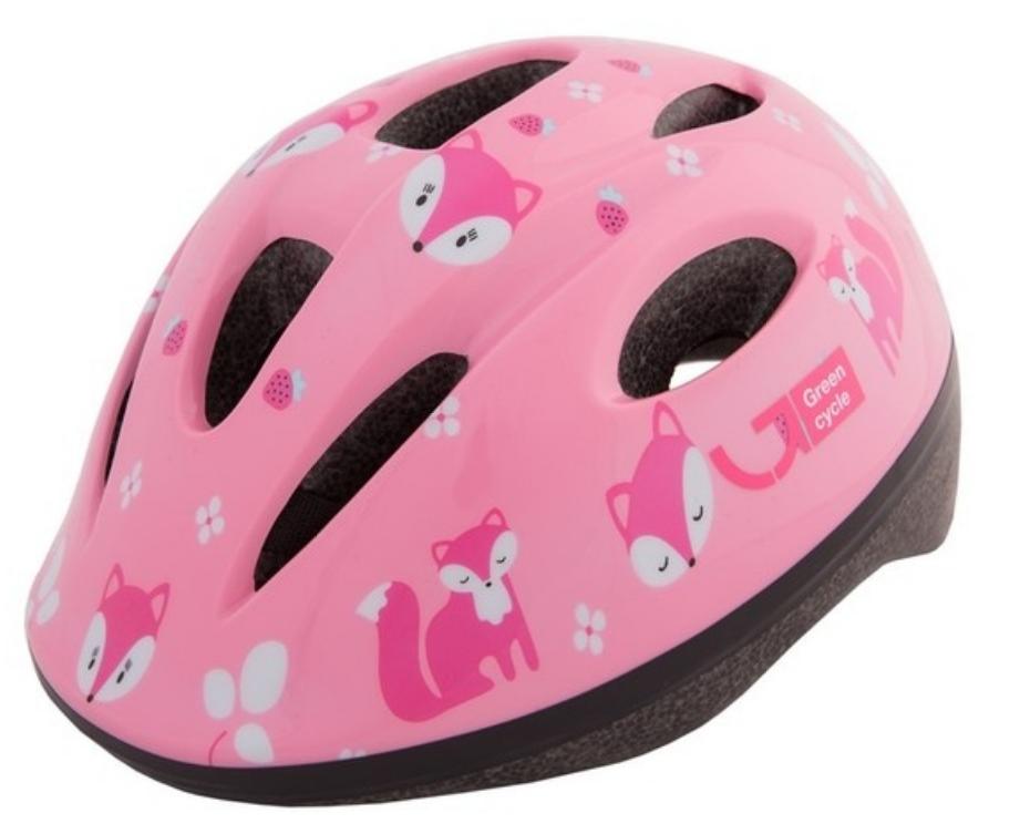 Велошлем детский Green Cycle Foxy, розовый/малиновый/белый, лакированный, 2019 (Размер: 48-52 см)