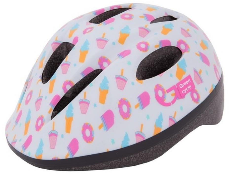 Велошлем детский Green Cycle Sweet, белый/розовый, лакированный, 2019 (Размер: 48-52 см)