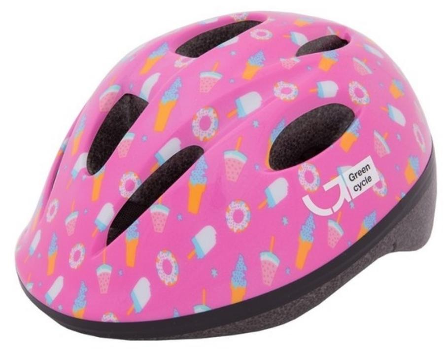 Велошлем детский Green Cycle Sweet, малиновый/розовый, лакированный, 2019 (Размер: 50-54 см)