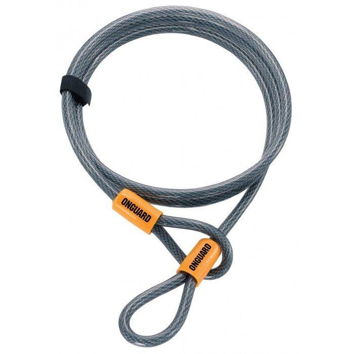 Велосипедный  трос Onguard AKITA Wire 120см х 10мм на петлях с виниловым покрытием стальной 8044.