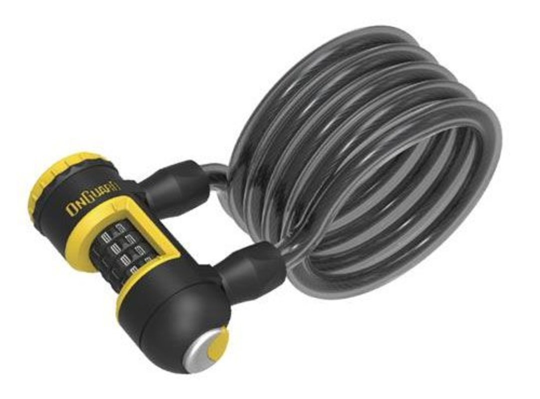 Велосипедный замок Onguard REVOLVER Coil Combo тросовый спиральный кодовый 1850 х 12мм в силиконовой оплетке 8140.