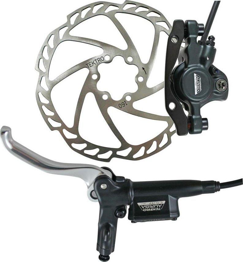 Тормоз велосипедный дисковый TEKTRO передний диск 160мм машинка белая гидролиния ручка тормозаHD-M290F-COLOR.