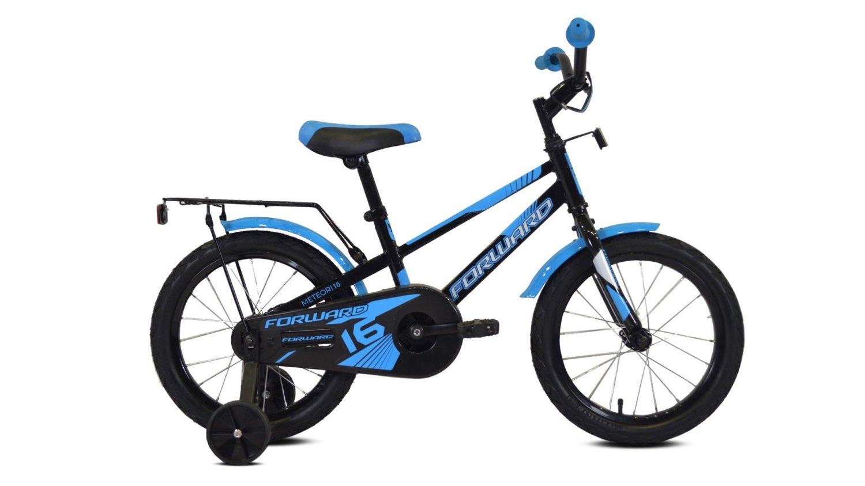 """Детский велосипед FORWARD METEOR 16"""" 2020 (Рост: 100-118 см, Цвет: черный/синий)"""