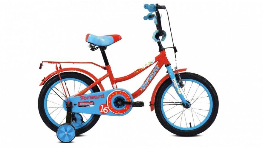 """Детский велосипед FORWARD FUNKY 16"""" 2020 (Рост: 100-118 см, Цвет: красный/голубой)"""