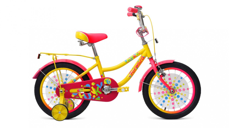 """Детский велосипед FORWARD FUNKY 16"""" 2019 (Рост: 100-118 см, Цвет: желтый)"""
