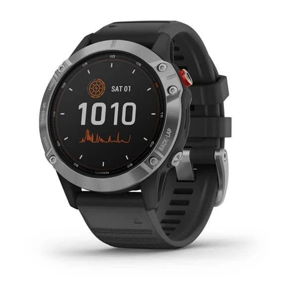 Смарт-часы спортивные Garmin fenix 6 Solar, Band, Silver w/Black, 010-02410-00
