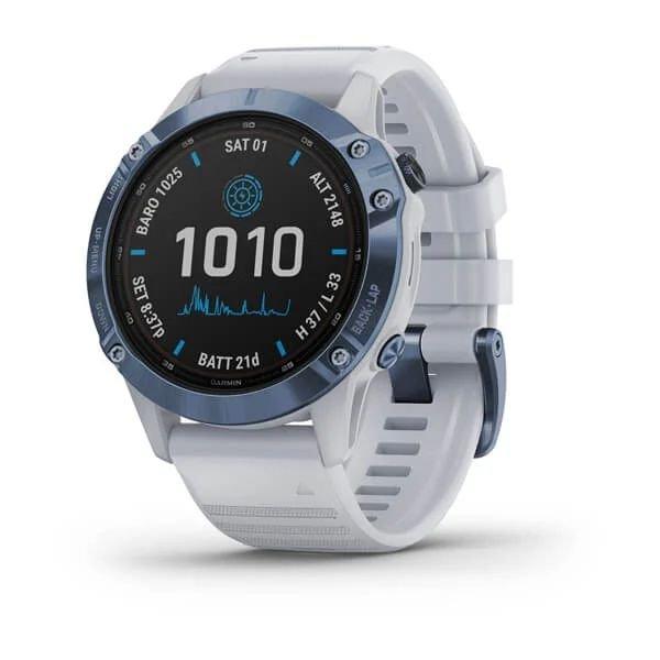Смарт-часы спортивные Garmin Fenix 6 Pro Solar, Mineral Blue with Whitestone Band, 010-02410-19