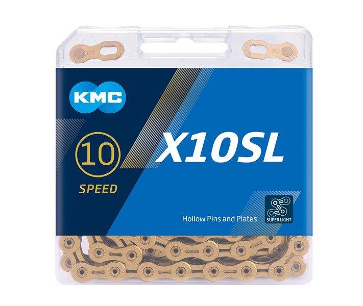 Цепь велосипедная KMC X10SL, 10 скоростей, 114L, золотистый, BX10SLT14