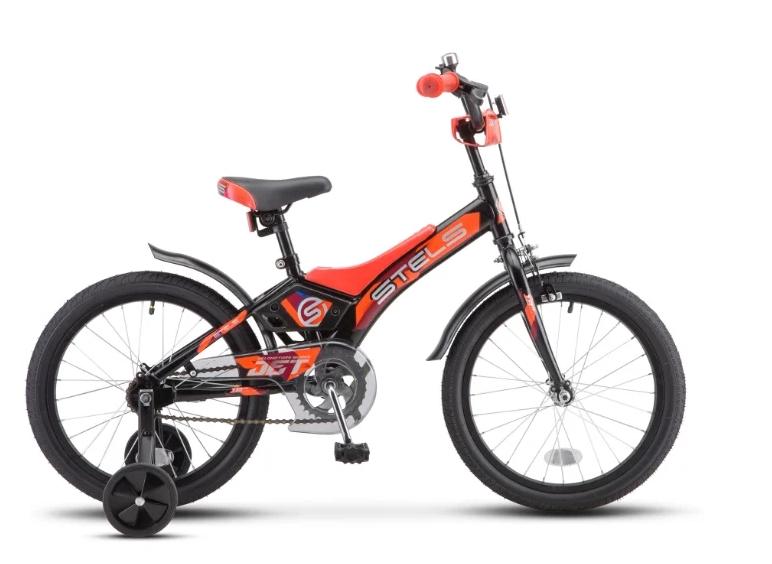 """Детский велосипед STELS Jet Z010 14"""", 2018  (Рама: 8,5"""" (Рост: до 115 см.), Цвет: Черный/оранжевый )"""