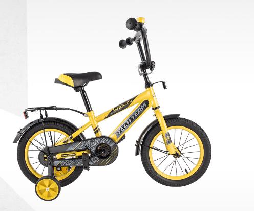"""Детский велосипед TECH TEAM 14"""" 2020 (Возраст: от 3 до 5 лет (Рост до 115 см.), Цвет: желтый)"""