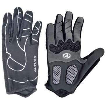 Перчатки 8-7131237 длинные пальцы FFPro серо-черные р-р L  AUTHORВелоперчатки<br>черно-серыые, с длинными пальцами, облегченная и дышащая модель, комбинация эластичного материала LYCRA, материала AIR MESH 3D и тонкой кожи SERINO, на ладони кожа AMARA с гелевыми прокладками, блистер<br>