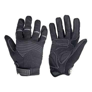 Перчатки 8-7131249 длинные пальцы Men Single T р-р L  черно-серые AUTHORВелоперчатки<br>черно-серые, с длинными пальцами, облегченная и дышащая модель, комбинация эластичного материала SPANDEX и неопрена,на ладони кожа AMARA SHARK с гелевыми прокладками, блистер<br>