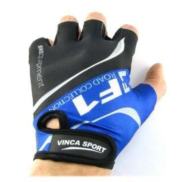 Перчатки велосипедные, синие, размер М, Vinca sport VG 924 blue (M) начинающим велосипедистам