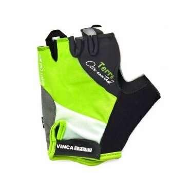 Перчатки велосипедные, TERRA, гелевые вставки, цвет белый с зеленым, размер ХL VG 933 green terraXLВелоперчатки<br>Перчатки велосипедные, AZURO, гелевые вставки, цвет белый с зеленым,  лёгкие воздухопроницаемые перчатки с усилением ладошки, плоской петлёй для снятия с руки и  липучкой;<br>Индивидуальная упаковка Vinca sport<br>Характеристики<br>Материал внешней сторонылайкра<br>Материал тыльной сторонысерая амара<br>Наличие гелягелевая вставка<br>Размер:  XL<br>Артикул: VG 933  green terra(XL)<br>