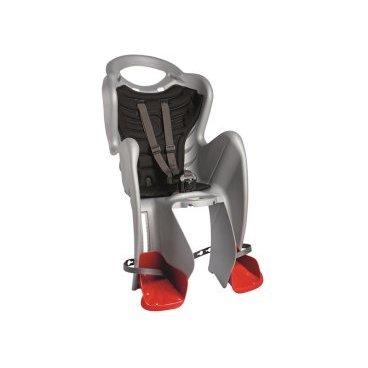 Детское велокресло на багажник BELLELLI Mr Fox Clamp заднее, до 7лет/22кг, серебряное 01FXM00007