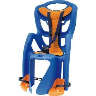 Детское велокресло на багажник BELLELLI Pepe Clamp заднее, до 7лет/22кг, синее, 01PPM00001