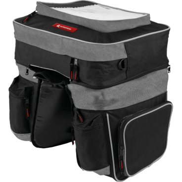 Сумка на багажник велосипеда Kross TRIPLE PANNIER BAG, 41*12*35cm 29*14*25cm, черная, T4CTO000147