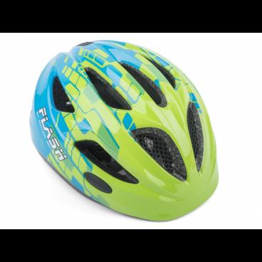 Велошлем детский Author Flash Inmold, 51-55 cm, светодиодный фонарик, сине-зеленый, 8-9090130