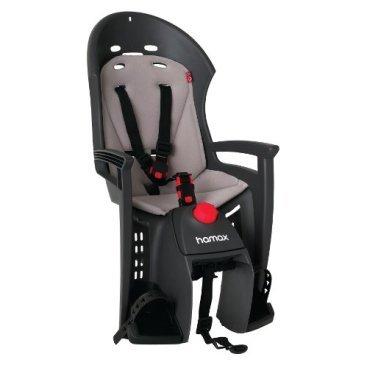 Детское велокресло на багажник HAMAX SIESTA PLUS с маячком, серый/серый, 552531