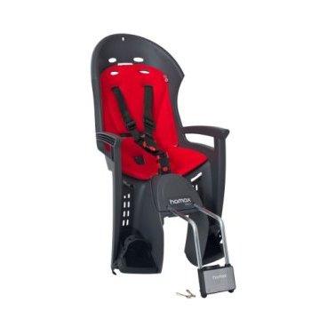 Детское велокресло на подседельную трубу HAMAX SMILEY с запираемым замком, серый/красный, 552032