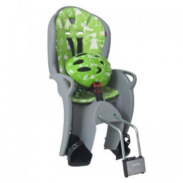 Детское велокресло на подседельную трубу HAMAX KISS SAFETY PACKAGE с велошлемом, серо-зеленый 551089
