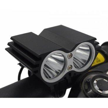 Фара велосипедная передняя, 2 светодиода, макс. 1200 лм, время работы: 3,5 ~ 12ч, 4 режима, EBL-302