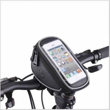 Велосумка MINGDA на руль и вынос L18хH8,5хW11, с отделением для смартфона 18х9см, 11810-L
