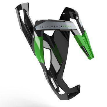 Велосипедный флягодержатель Elite  Custom Race Plus, fiberglass, черный, зеленый рисунок. EL0140607