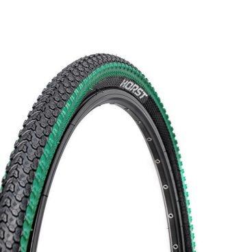 Велопокрышка HORST PQ-817, для MTB, 26x2.125 (54-559), 30 TPI, высокий, черно-зеленая, 00-001078 покрышка велосипедная horst 700x45с 28х1 75 47 622 pq 506 низкий 25 h r t 00 011106