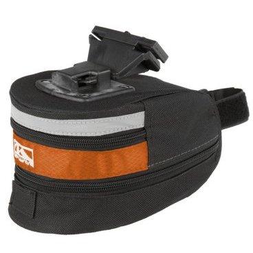 Подсумок велосипедный M-WAVE подседельный быстросъемный, средний, размер L, черно-оранжевый 5-122487