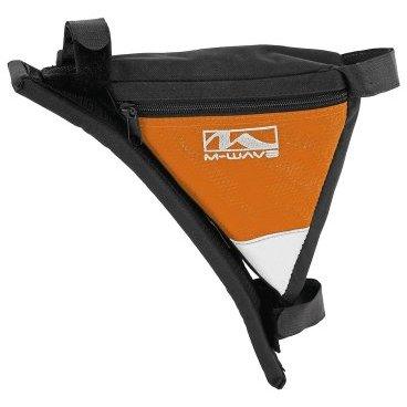 Подсумок велосипедный M-WAVE подрамный треугольный плечевой упор (100) черно-оранжевый, 5-122547