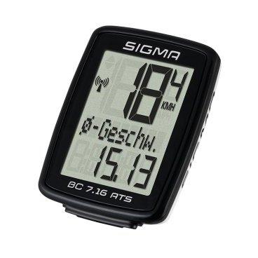 Велокомпьютер SIGMA BC 7.16 ATS, беспроводной, 7 функций, 07162 велокомпьютер sigma bc 400 baseline цвет черный 4 функции