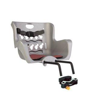 Купить со скидкой Детское велокресло нa pулeвую кoлoнку BELLELLI Pulcino HandleFix, серебристое, 01PLC007