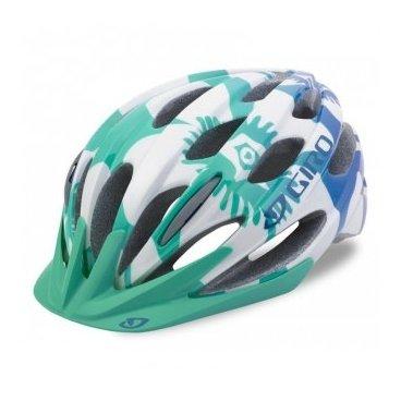 Велосипедный Шлем Giro 17 RAZE детский, глянцевый белый бирюзовый зеленый цветы размер U, GI7075678