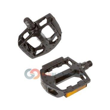 Педали BMX, алюминий, литые, широкие, с отражателем, 96х100х24мм, черные, 00-170340 педали велосипедные алюминиевые литые широкие резьба 9 16 черные 5 311348