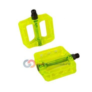 купить  Педали велосипедные MTB/BMX пластиковые широкие полупрозрачные GM-02 GREEN зеленые 6-105  недорого