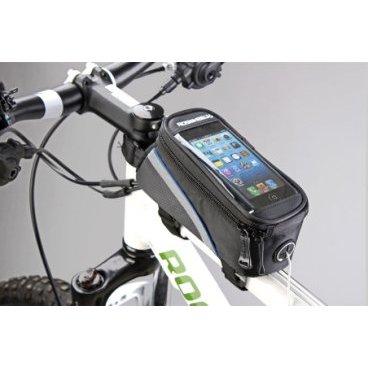 Сумка MINGDA на раму L19,5хH9хW8,5 с отделением для смартфона, окошко 4,8