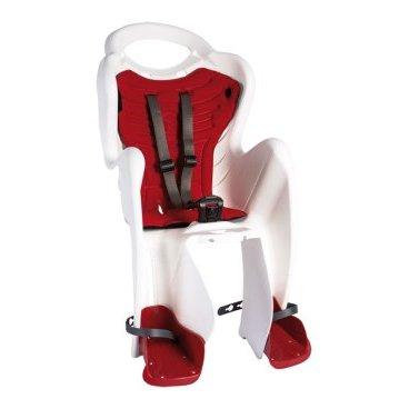 Детское велокресло BELLELLI Mr Fox Relax B-Fix на подседельную трубу, белое с красным, 01FXRB0020