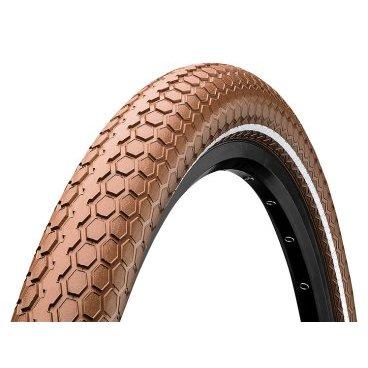 Велопокрышка Continental Retro RIDE Reflex, 26x2.0, 180TPI, коричневая, отражающая полоса, 100467