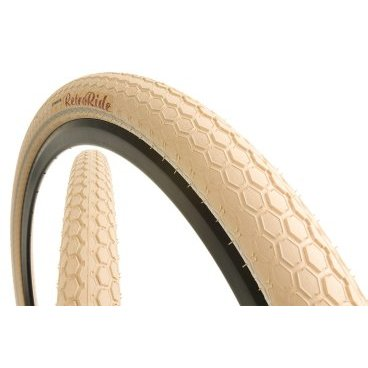 Велопокрышка Continental Retro RIDE Reflex, 26x2.0, 180TPI, кремовая, отражающая полоса, 100455