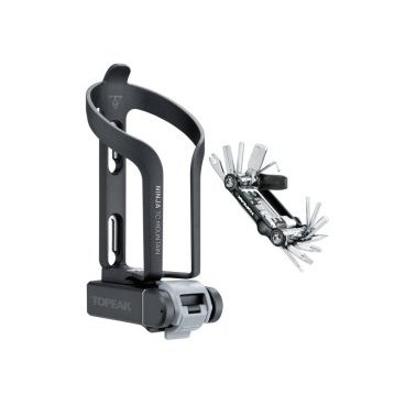 Флягодержатель с инструментом Topeak Ninja TC Mountain integrated cage & tool box & Mini 20, TNJ-TCM флягодержатель topeak ninja cage plus cage only w integrated tire levers с лопатками tnj cgp