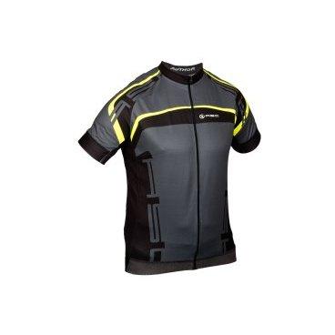 Велофутболка AUTHOR SPORT X4 15B черно-серо-неоново-желтая, размер XL, 8-7059621 шлем author универсальный вмх freestyle lynx grn 10 отверстий неоново зеленый 52 57см 8 9110323