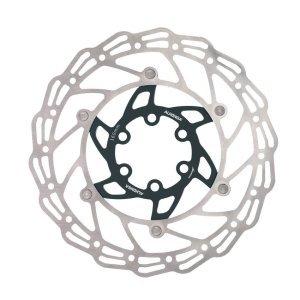 Диск тормозной ALHONGA, 180мм, нержавеющая сталь, серебристый/чёрный, с болтами, HJ-DXR1807-BKТормоза на велосипед<br>Alhonga диск тормозной 180мм нержавеющая сталь серебристый/чёрный с болтами<br>