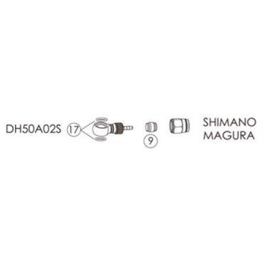 Фиттинги и переходники BENGAL для гидролиний SHIMANO, MAGURA в блистере, DH50A02S