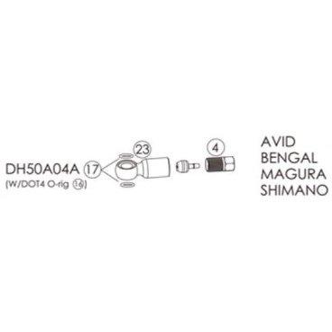 Фиттинги и переходники BENGAL для гидролиний AVID, SHIMANO, MAGURA, BENGAL 2.2X5.0, DH50A04A