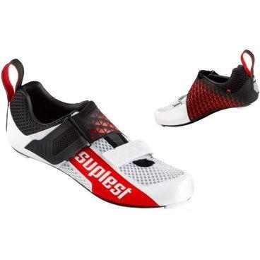 Велотуфли Suplest Triathlon Edge 3 Carbon Comp, размер 44, белый - неоновый оранжевый, 01.038.44